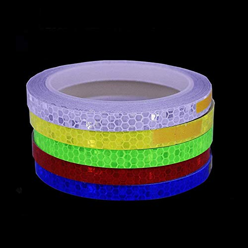 Vetoo Reflective Tape Outdoor Safety Warning Lighting Sticker Waterproof Bike Reflector Tape for Car, Bicycle, Motorcycle Rim Self-Adhesive DIY Decoration (5 Colors-Red Blue Green Yellow White)