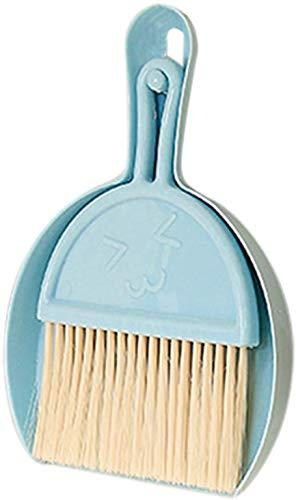 Juego de 2 mini escobas, mini escoba y recogedor de plástico, polvo pequeño con cepillo de limpieza, para camping, teclado, mesa, agujeros de ventana, gato, perro (azul)