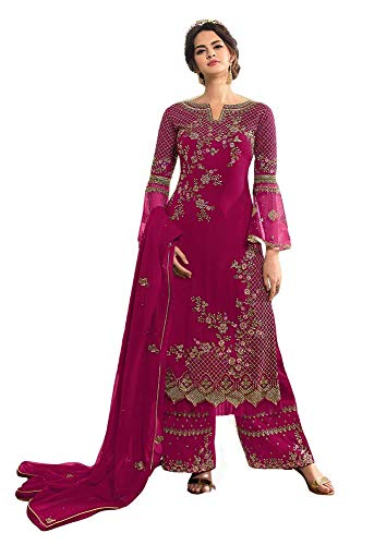Prija Collection Indian Pakistani Designer Wedding Or Party Wear Straight Salwar Kameez Suit Ready to Wear for Womens (Pink, XL)