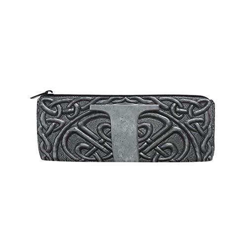 Federmappe Vintage Grau 3D Grafik Buchstabe J Schreibwaren Tasche Tasche Etui Kosmetiktasche