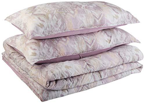 AmazonBasics Comforter Set, King, Lilac Aztec, Microfiber, Ultra-Soft