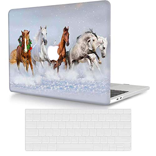 ACJYX Case Only Compatible with MacBook Pro 13 inch with CD-ROM 2012 2011 2010 2009 2008 Release Old Version Model A1278, Protective Plastic Hard Shell Case with Keyboard Cover, Horse Running