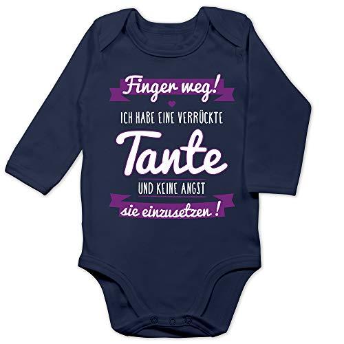 Shirtracer Shirtracer Statement Sprüche Baby - Ich Habe eine verrückte Tante Lila - 12/18 Monate - Navy Blau - Body für Baby mit Spruch - BZ30 - Baby Body Langarm