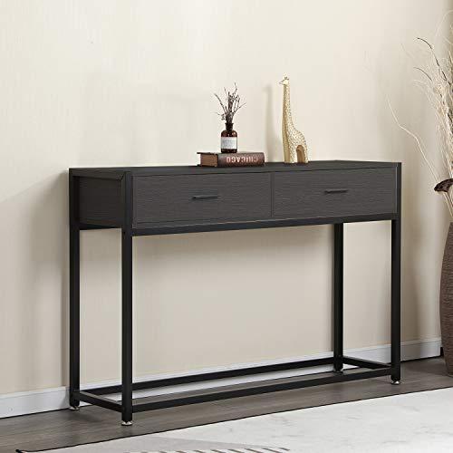 soges Konsolentisch Beistelltisch Sideboard mit 2 Schubladen, aus hochwertigen Holzwerkstoff und Metall Frame, Flurtisch, Konsole für den Eingang und Wohnzimmer,Dunkelbraun