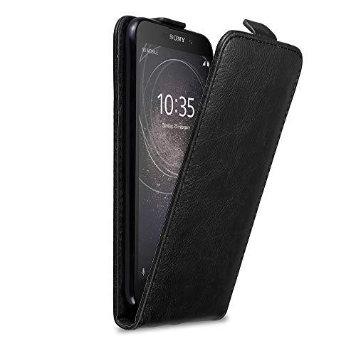 Cadorabo Hülle für Sony Xperia L2 in Nacht SCHWARZ - Handyhülle im Flip Design mit Magnetverschluss - Hülle Cover Schutzhülle Etui Tasche Book Klapp Style