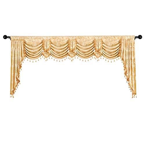 ELKCA Custom Made Valance for Living Room Golden Jacquard Swag Waterfall Valance (Waterfall Valance,Damask-Golden, W110)