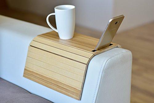 Bandeja de madera para sofá con protectores de reposabrazos, sofá, mesa, posavasos, bandeja para teléfono col 2.