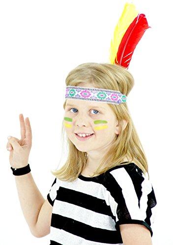 Indianer Kopfband mit Federn für Party Stirnband für Kinder