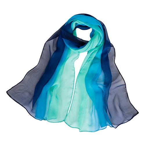 KAVINGKALY Long Chiffon Sheer Seidenschals Schatten Farben Schal für Frauen Leichte lange Wickelschals (Navy Blau und Grün)