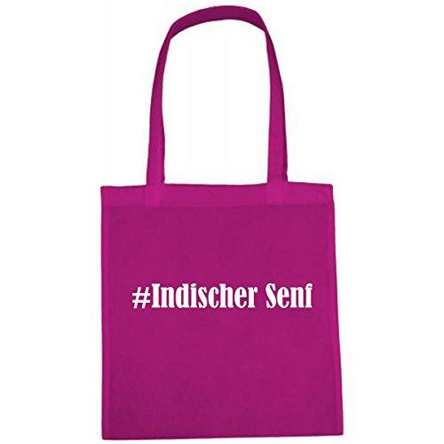 Tasche #Indischer Senf Größe 38x42 Farbe Pink Druck Weiss