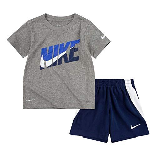 Nike Conjunto de 2 piezas para niño Dri-Fit camiseta y pantalones cortos (azul marino medianoche (76G054-U90)/gris, 24 meses)