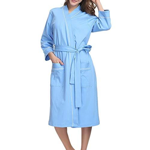 BAYUE Slaapmode Vrouwen Katoen Warm Badjas Vrouwen Herfst Effen Kleur Katoen Pyjama Nachtjapon Lingerie Badjas Met Riem#g3