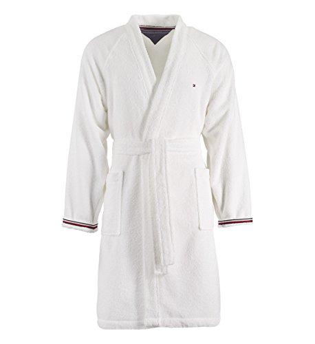 Albornoz Kimono con capucha Tommy Hilfiger TG S M L XL XXL 100% rizo puro algodón hombre mujer (blanco, S - 42/44)