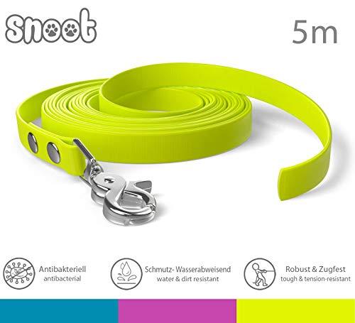SNOOT Schleppleine 5m Neon-Gelb - zugfeste, schmutz- und Wasserabweisende Hundeleine mit einem Karabiner