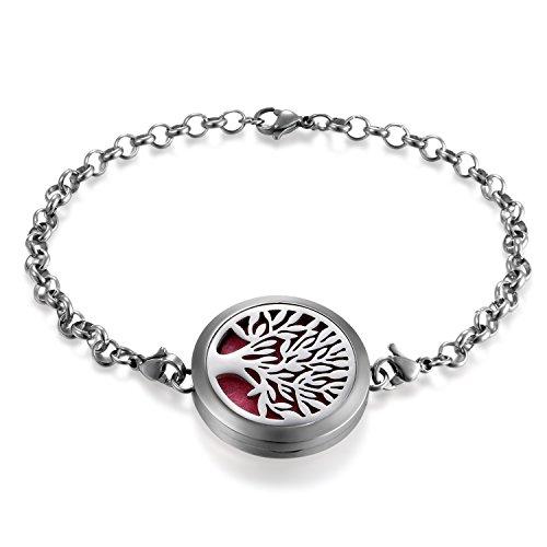 Cupimatch Damen Herren Aromatherapie Diffusor Armband, Edelstahl Lebensbaum Anhänger Armband mit 6 Pads, Silber