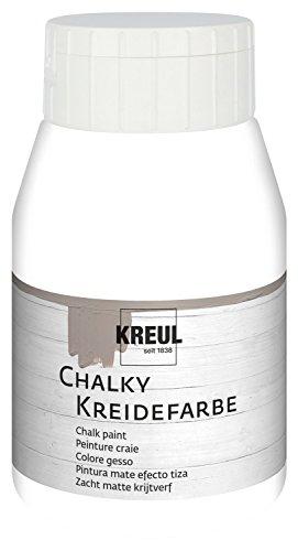 Kreul 75123 - Chalky Kreidefarbe, sanft - matte Farbe, cremig deckend, schnelltrocknend, für Effekte im Used Look, 500 ml Kunststoffflasche, Snow White