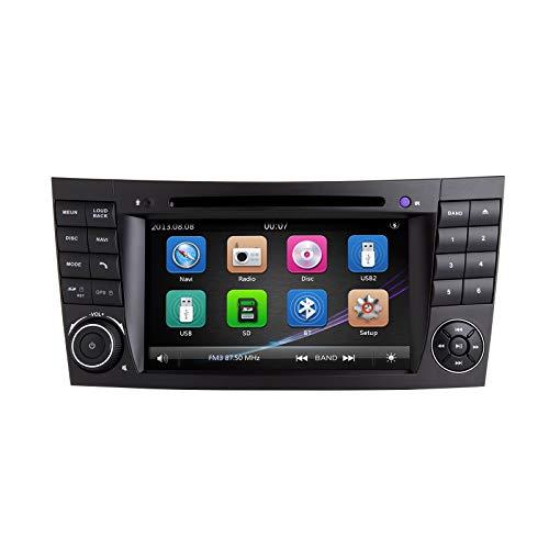 ZLTOOPAI für Mercedes Benz E-Klasse W211 CLS W219 Doppel-Din-Head-Einheit 7-Zoll-kapazitiver Multi-Touchscreen-Autoradio GPS-Radio mit kostenloser Kartenkarte Rückfahrkamera-Demontagewerkzeuge