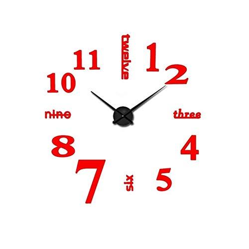 DZSW Cmdzsw Decoración del hogar Reloj de Pared 3D DIY Silent Wall Clock Acrylic Mirror Etiqueta Reloj de Cuarzo Reloj (Color : Red, Size : 47 Inch)