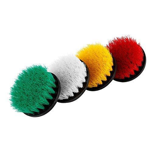 NiceDD - Juego de 4 cepillos de taladro de 10 cm, suave, medio y rígido, cepillo giratorio para limpieza de duchas, bañeras, baño, azulejos, alfombra de ventana