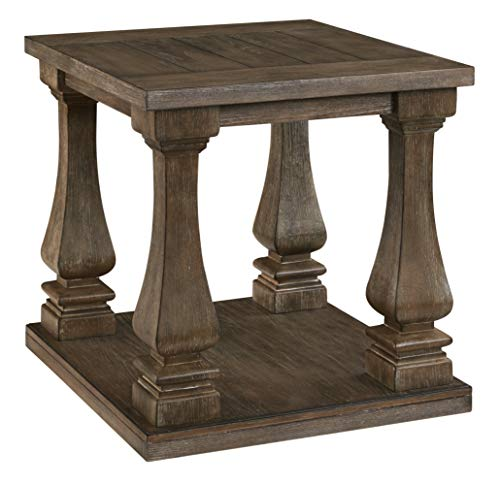 Signature Design by Ashley - Johnelle Rectangular End Table, Weathered Brown Wood