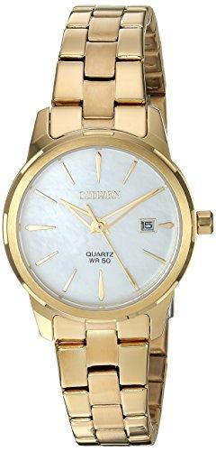 Citizen EU6072-56D - Orologio da polso al quarzo, da donna, in acciaio inox, stile casual, colore: oro