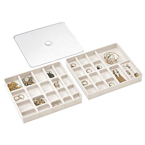 mDesign Stackable Plastic Storage Jewelry Box - 2 Organizer Trays with Lid for Drawer, Dresser, Vanity - Holds Necklaces, Bracelets, Bangles, Rings, Earrings - 3 Pieces - Cream/Beige/Clear