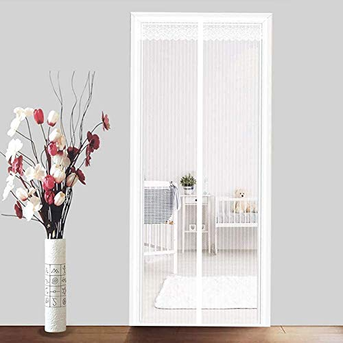 Xyy Magnetic Fly Screen Door, Magnetic Screen Door Insetto Mosca for Tenere Fuori Flies Curtain Mesh con Il Portello Bianco Personalizzabile LaceTerrace (Color : White, Size : 120x200cm(47x79inch))