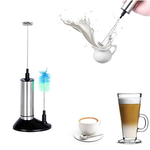 Elektrische handmelkopschuimer met Silm-ontwerp, eersteklas roestvrij staal, aangedreven door 2 AA-batterijen, compact en gemakkelijk op te bergen, perfect voor koffie en meer