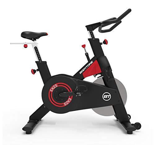 Bicicleta Ciclismo Indoor Bodytone EX2S - Volante de inercia delantero de 20 Kg - Transmisión Correa Poly - Pedales Mixtos - Ruedas de transporte
