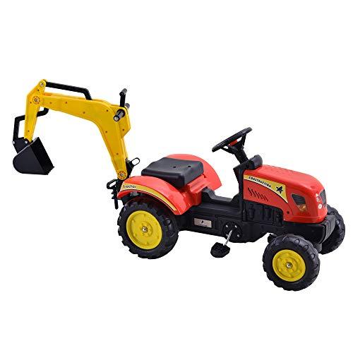 homcom Escavatore Giocattolo per Bambini 3-6 Anni con Pedali, Braccio Mobile e Volante, Rosso, Giallo e Nero 131x42x59cm