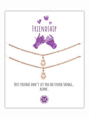 MURANDUM Geschenk Freundschafts Armbänder   Friendship Bracelets   Armbänder mit Herzanker Anhänger inklusive Geschenkkarte   Länge verstellbar (Roségold)
