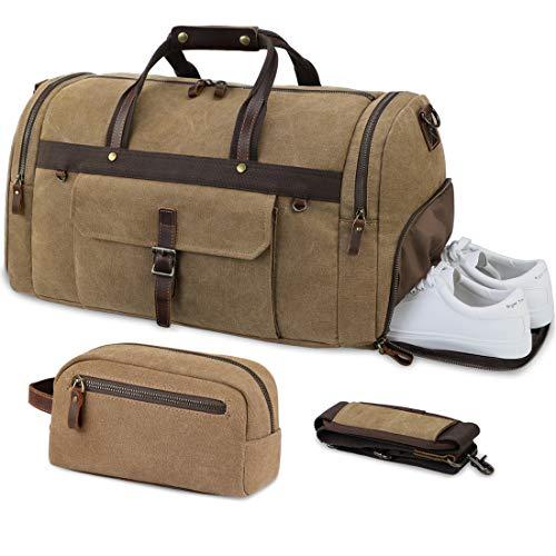 Bolsa de Viaje Lona Hombre Bolsa Fin de Semana de Impermeable Cuero Grande Vintage Bolsa Deportiva 55 litros con Compartimento para Zapatos y Bolsa de Aseo Caqui