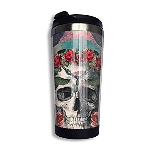 Qurbet Tazza da Viaggio da caffè, Mexican Rose Sugar Skull Stainless Steel Coffee Tumbler Travel Cup Vacuum Insulated Coffee Mug for Men & Women Home Office Camping