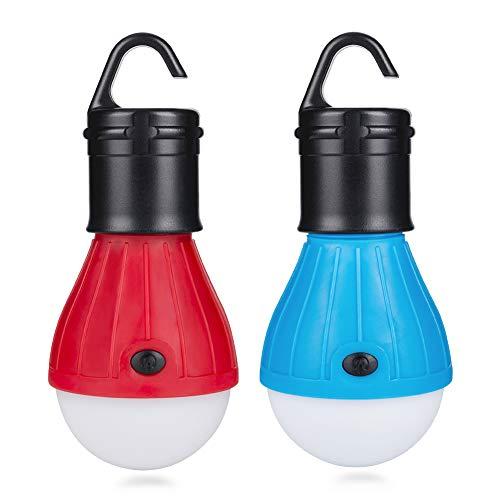 Eletorot LED Campinglampe Zeltlampe Glühbirne Set-Notlicht COB150 Lumen für Camping, Abenteuer,Angeln, Garage, Notfall, Stromausfall wasserdicht, 2 Stücke [Energieklasse A+]