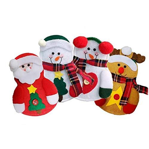 Herramienta de Navidad 1 juego de cubiertos de cocina Traje de Navidad cubiertos Holder y herramienta Tenedor Horquillas Bolsa Suministros 4models vajilla muñeco de nieve de la decoración del partido
