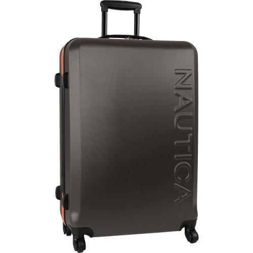 Nautica Ahoy Hardside Expandable 4-Wheeled Luggage-28 Inch Checked Size, Orange/Silver