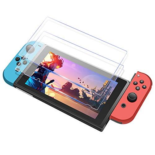 Icheckey Nintendo Switch 用 ガラスフィルム ブルーライトカット 【2枚セット】 貼り簡単 気泡ゼロ スイッチフィルム 全面保護フィルム 日本旭硝子ガラス素材 高透過率 超薄 0.3mm