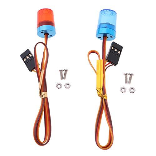 HomeDecTime 2pcs 1/10 Escala RC Coche Policía 360 ° Rotación Flash Luces LED Brillantes Advertencia