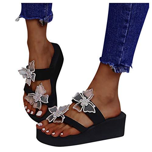 Sandalias de mujer con mariposa brillantes Flip Flop Sandalias de cuña Plataforma Peeptoe Transpirables Zapatos Mujeres Moda Casual Hogar Pantuflas Bohemian Zapatos de playa Zapatos de verano