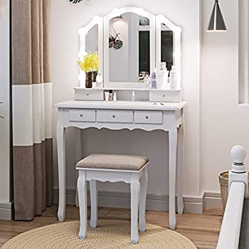 Tiptiper Vanity Table Set with Lighted Tri-Folding Mirror & Cushion Stool Makeup Vanity Desk with 10 LED Light Bulbs & 3 Color Lighting Modes Dressing Table with 5 Storage Drawers White
