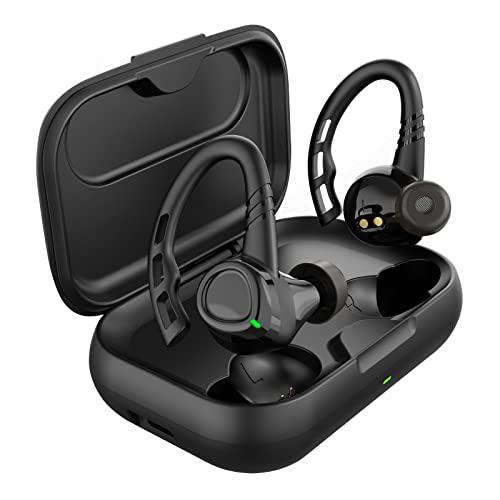 Auriculares Inalambricos Deportivos, Auriculares Bluetooth 5.1 con Desmontable Ganchos y Mic, In Ear Cascos Cancelacion Ruido IPX7 Impermeables con Carga Rápida Tipo C Autonomía de 35H Control Táctil