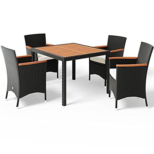 Deuba Conjunto de jardín Verona Set de una Mesa y sillas apilables de poliratán 4+1 Muebles...