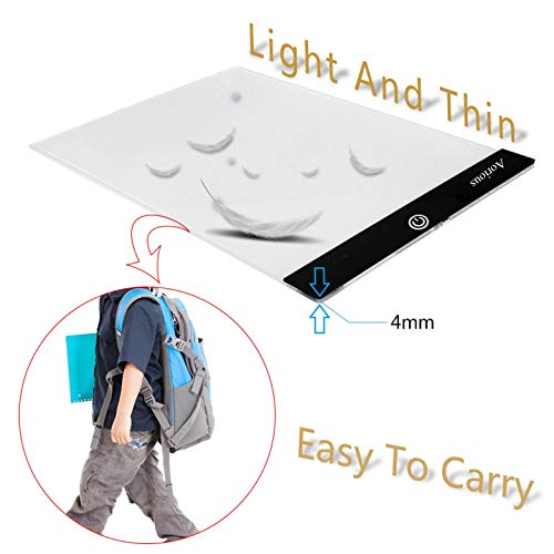 Aorious LED Tracing Light A4 Dimmable Artcraft Light Pad for Artists Drawing,Shetching,Animation,Tracing Light Pad Light Box for Artists