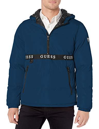 Guess Herren Popover Puffer Jacke, blau, Small