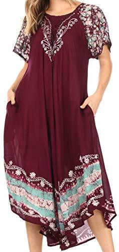 Sakkas 14403New -Sara Batik Pareo/Vestido sin Mangas Caftán - Chocolate/Menta - One Size Regular