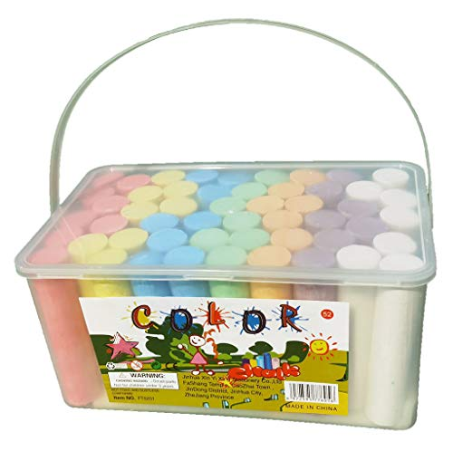 Sidewalk Chalk Set- 52 Pieces 7 Colors Jumbo Chalk, Washable Art Play For Kid and Adult, Paint on School Classroom Chalkboard, Office Blackboard, Playground, Outdoor, Gift for Birthday Party