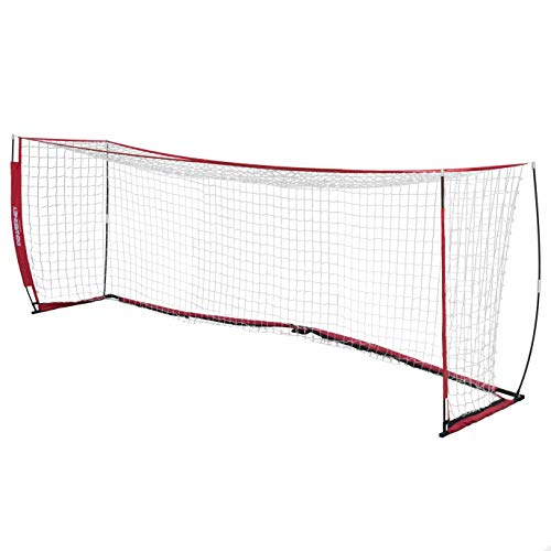 PowerNet Soccer Goal 24 x 8 | Regulation Goal Size | Portable Instant Net | Collapsible Metal Base | Durable Vertical Bow Posts | Quick Setup Easy Storage | 1 Goal+1 Wheeled Carrying Bag | Full Size