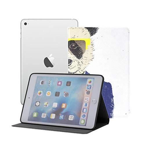 iPad Mini Carcasa y Cubierta Hipster Panda con Gafas iPad Mini Funda magnética iPad Mini 1/2/3 Auto Sleep/Wake con visualización de múltiples ángulos para iPad Mini 3 / Mini 2 / Mini 1