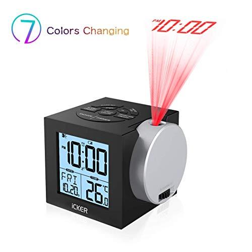 iCKER Projektionswecker,Digitaler Wecker für Schlafzimmer, 7-Farben-Helligkeit für Kinder, 12/24 Stunden, 70° Dreh-Projektor &180° Flip-Projektionsanzeige(Schwarz)