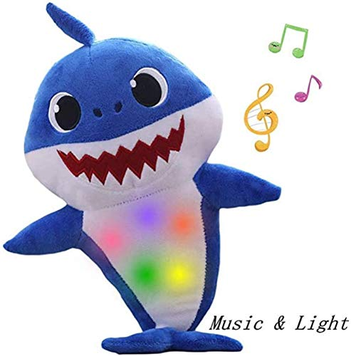 HEHS Plush Shark Toys, Children's Soft Toys, Shark Baby Singing with Music and Glow in The Dark, The Best Gift for Boys and Girls(Blue)